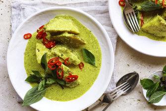 Green curry of roast celeriac.