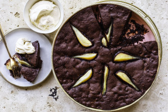 Pear and ginger brownie pudding.