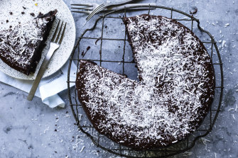 Chocolate, marmalade and coconut cake.