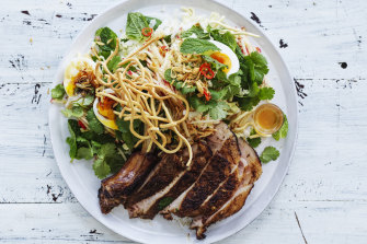 Five-spice pork chops with wombok and pickled apple slaw.