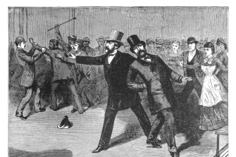 The shooting of President Garfield in 1881. He later died from his wounds.