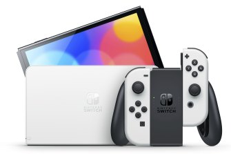 The Nintendo Switch (OLED Model) comes in white instead of grey, but there's also a red and blue neon version with a black dock.