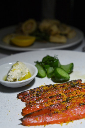 Gin-cured Mount Cook salmon with cucumber pickle and horseradish.