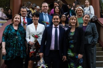 NSW MPs and members of the public after the passing of the bill to decriminalise abortion in NSW.