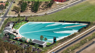 Artist's impression of the surf park near Melbourne Airport at Tullamarine.