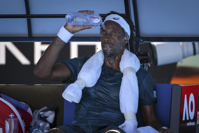 Monfils struggled through his match against Djokovic in 2018 at the Australian Open.