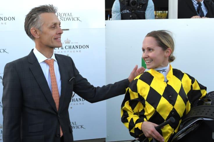 Winning partnership: Mark Newnham gives Rachel King a pat on the back.