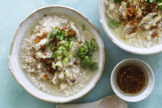 Adam Liaw's roast chicken brown rice congee.