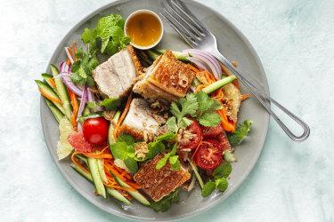 Pork belly and grapefruit salad