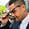 Hayne's lawyer jets to US for depositions in sexual assault case