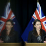 Double take  ... Prime Minister Jacinda Ardern addresses media on Wednesday about the return of COVID-19.