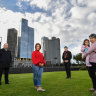 Convenor of the East Melbourne Group's planning committee Greg Bisinella, resident Valerie Stroehle,Cr Rohan Leppert and resident Elinor Colaso, with Olivia aged four atBirrarung Marr.