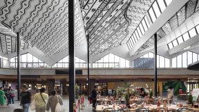 Artist Mandy Nicholson's ceiling design in Burwood Brickworks' market hall.