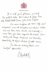 A copy of the handwritten message from Queen Elizabeth in support of the award of the George Cross to the NHS.