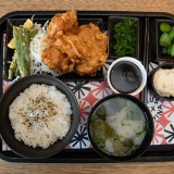 The Japanese chicken karage lunch tray from Deus Cafe in Camperdown, Sydney.