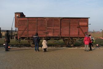 A rail car similar to those used to transport people to Auschwitz-Birkenau.