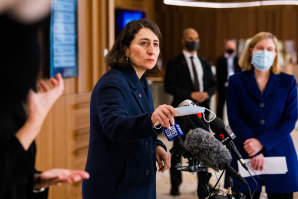 Premier Gladys Berejiklian has again cited targets of between 50 and 60 per cent vaccination rates as triggers to easing restrictions.