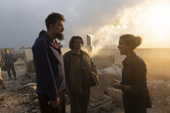 Director Adam Wingard with actors Julian Dennison and Millie Bobby Brown on the set of Godzilla vs Kong.