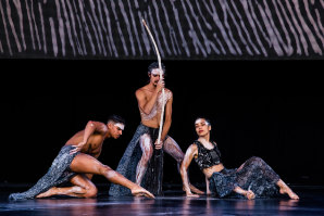 Bangarra dancers Kiarn Doyle, Bradley Smith and Rika Hamaguchi rehearsing at Barangaroo ahead of Wednesday's performance.