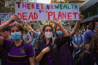 Students at the School Strike 4 Climate Protest in Melbourne on May 21 this year.