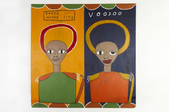 Olana Janfa's paintings draw on his Ethiopian heritage.