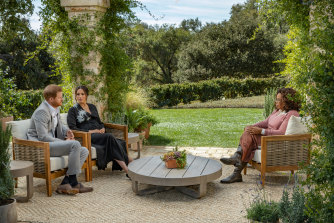 Oprah Winfrey interviews Prince Harry and Meghan, The Duke and Duchess of Sussex.