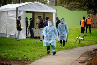 A testing site is set up at the public housing tower on Racecourse Road in Flemington