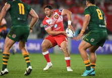 The forward in action for Tonga during their historic win over Australia.