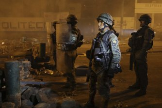 Soldiers on patrol in Quito on Saturday night.
