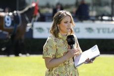 Lizzie Jelfs in the mounting yard for Sky Racing.