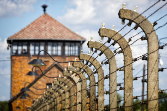 A watch tower and fence at Auschwitz concentration camp, Poland.