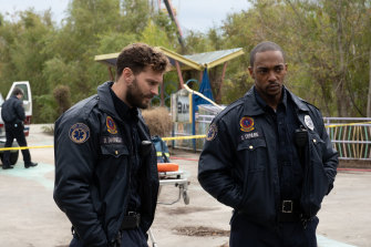 Jamie Dornan andAnthony Mackie as paramedics and best pals in Synchronic.