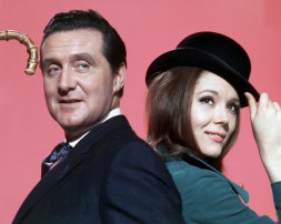 British actors Patrick McNee and Diana Rigg are John Steed and Emma Peel, on the set of the TV Series The Avengers.,