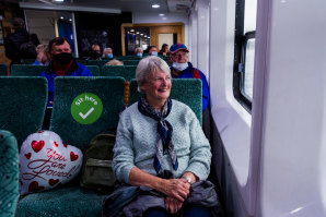 Val Dolly, who was onboard the Queenscliff's first journey in 1983, takes in the view on the ferry's last trip on Wednesday.