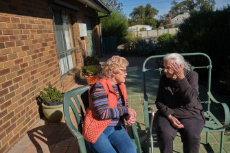 Woomelang Retirement Units Committee secretary Gwenyth Barbary with resident Pat Marshall.