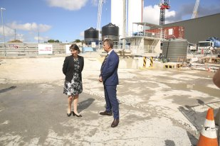 NSW Premier Gladys Berejiklian and Transport Minister Andrew Constance inspect the Rozelle Interchange site on Thursday.
