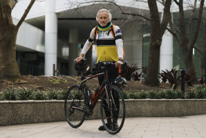 John Hunt cycles to work in Chatswood.