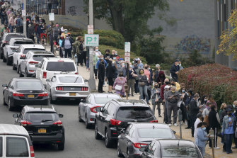 Hundreds of voters lined up in Yonkers, New York, on the weekend.