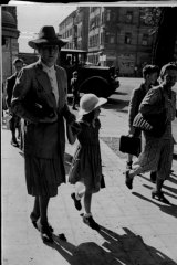 Emmy Goering and daughter Edda on their way to visit Hermann Goering in jail in October 1946.