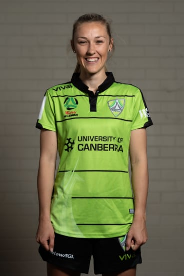 Taren King in Canberra United's 2018-19 playing kit.