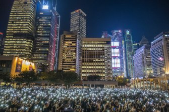 A rally of students in support of anti-government protesters in the Central district of Hong Kong, August 22, 2019.
