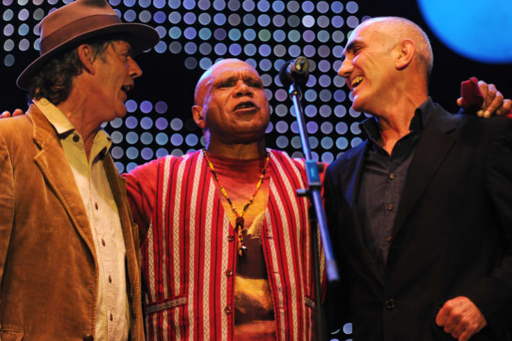 Australian musicians Shane Howard, Archie Roach and Paul Kelly perform for the Nukkan Ya Ruby (See Ya Later Ruby) tribute concert during Sydney Festival 2011.