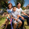 Ly Thi Thu Tran her husband Hung Phuoc Nguyen Hau and their son Andy will become new citizens on Australia Day.