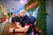 Photo of (L-R) Ismail Oumacha , Hash Tayeh CEO and Jay Sawhney,  manager of the Prahran Burgertory store on Thursday 16, September 2021. Photo Luis Enrique Ascui