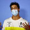 Australian driver Daniel Ricciardo talks to the media before the Austrian Grand Prix.