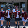 Year 12 students at Marymede Catholic College in South Morang celebrate completing their VCE English exam.  Left to right: Claudia Pironi, Nuwin Fernando, Jake Mitkovski and Jarnai Brancaleone.