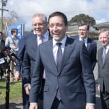 In happier times ... Prime Minister Scott Morrison and then Victorian Liberal leader Matthew Guy in September.
