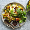 Karen Martini's crisp-fried egg, charred corn, smoked trout and herb salad