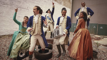Lin-Manuel Miranda (second from left) and other members of the original Hamilton cast.