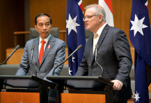 Prime Minister Scott Morrison, right, with Indonesia leader Joko Widodo in Canberra last year.